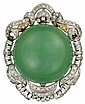 14 karat white gold jadeite and diamond brooch, , Large round cabochon jadeite, approximately 77.05 carats. Accented by petite round an