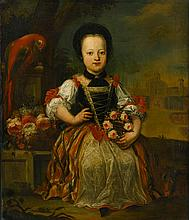 AUSTRIAN SCHOOL, (18TH CENTURY), PORTRAIT OF A GIRL HOLDING A FLORAL GARLAND; PORTRAIT OF A SEATED BOY AND HIS DOG