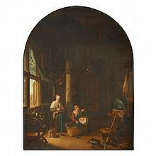 AFTER GERRIT DOU, (DUTCH 1613-1675), MOTHER AND CHILDREN IN INTERIOR