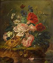 AMALIE KAERCHER, (GERMAN ACT. 1860-1926), STILL LIFE OF MIXED FLOWERS AND INSECTS ON A MOSSY BANK