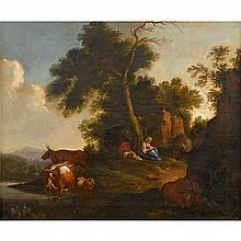 FOLLOWER OF NICOLAES BERCHEM, (DUTCH 1620-1683), ARCADIAN LANDSCAPE WITH FIGURES AT REST AND CATTLE