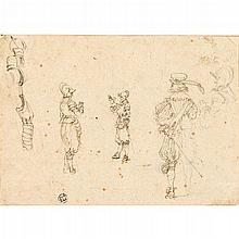 STEFANO DELLA BELLA, (ITALIAN 1610-1664), STUDY FROM THE ETCHING SERIES DESSINS DE QUELQUES CONDUITS DE TROUPES AND VARII CAPRICCI M...