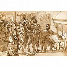 CIRCLE OF FELICE GIANI, (ITALIAN 1758-1823), MUCIUS SCAEVOLA THRUSTING HIS RIGHT HAND INTO THE FLAMES BEFORE LARS PORSENNA