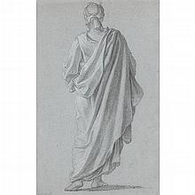 ATTRIBUTED TO NOËL NICOLAS COYPEL, (FRENCH 1690-1734), STANDING FIGURE VIEWED FROM BEHIND