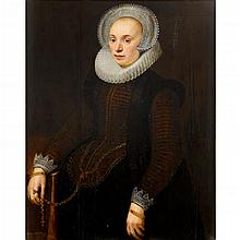 CIRCLE OF NICOLAES ELIASZ PICKENOY, (DUTCH CA.1588-1655), PORTRAIT OF A LADY, THREE-QUARTER LENGTH, WITH MOLENSTEENKRAAG, WHITE LACE...