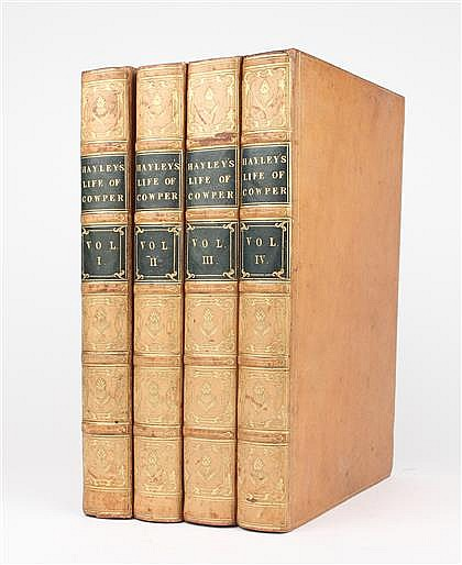 4 vols. Cowper, William. The Life and Letters. London: J. Johnson, 1812. Tall 8vo, contemp full gilt-paneled polished cal...