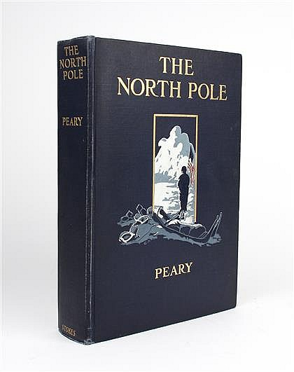 1 vol. Peary, Robert E. The North Pole. New York: Frederick A. Stoker, 1910. 1st American ed. Lg 8vo, orig gilt-lettered...
