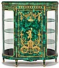Fine Louis XVI style gilt bronze mounted malachite veneered vitrine cabinet, early 20th century, signed F. Linke, The D-shaped top over