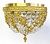 Cut glass and gilt metal plafonnier, 20th century, Of dome form with cascading cut glass drops enclosed within a series of floral swags