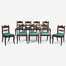 Set of nine Federal carved mahogany dining side chairs, philadelphia, pa, circa 1815