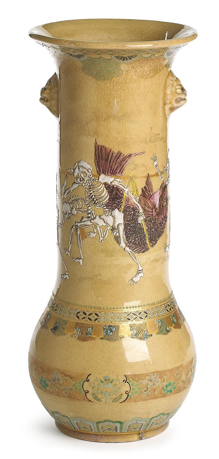 Tall Japanese satsuma vase painted with skeletons and carp, meiji period, Of baluster form with flaring rim, the body painted in the ro