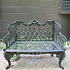 Chippendale style cast iron garden bench, possibly kramer bros., dayton, oh, mid 19th century, The rocaille and scroll cast crest over