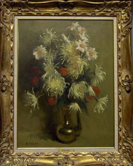 RUDOLPH COLAO american, (1927-?) STILL LIFE WITH FLOWERS, , Signed lower left: R. Colao. Oil on board. 25 1/8 x 19 in.