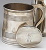 Silver cann, joseph lownes (1754-1820), philadelphia, pa, circa 1805, Of cylindrical form with two reeded bands to body and shaped hand