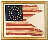 Civil War 35-Star Guidon: 119th Regiment Pennsylvania Volunteer Infantry, circa 1862, The hand-sewn silk swallowtail flag comprised of