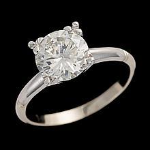 A diamond, platinum and fourteen karat white gold ring,