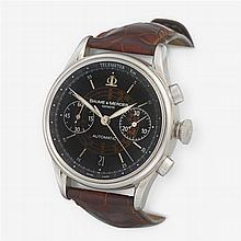 A stainless steel, automatic, chronograph strap watch with date, Baume & Mercier,