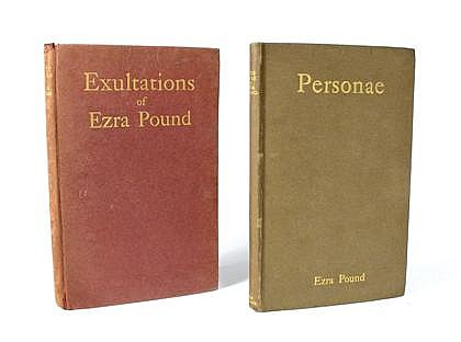 * 2 vols.  Pound, Ezra: Personae. London: Elkin, Mathews, 1909. 1st ed. Sm. 8vo, orig. light brown, gilt-lettered bds, ed...
