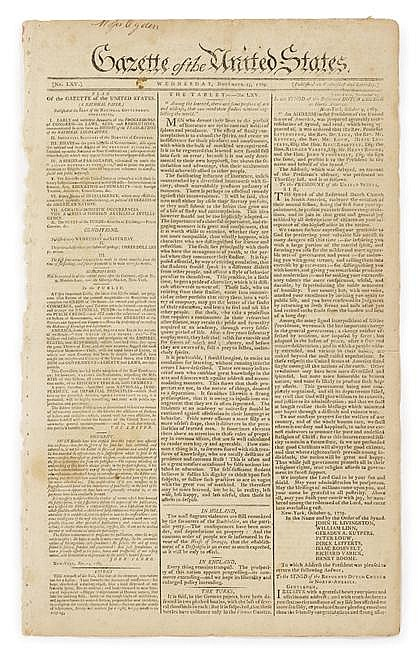 1 piece.  [Early American Newspapers - Benjamin Franklin on the Abolition of Slavery] Gazette of the United States. (New...