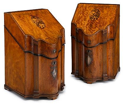 Fine pair of George III satinwood, tulipwood crossbanded and marquetry inlaid knife boxes, circa 1770-1780, The hinged sloping lids cen