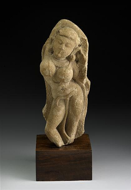 Indian sandstone figure of Surasundari, 12th century or earlier, Depicted standing in tribhanga pose, with a necklace around her breast