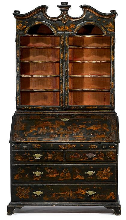 George III green lacquered secretaire bookcase, last quarter 18th century, In two sections: the broken pediment top over twin arched do