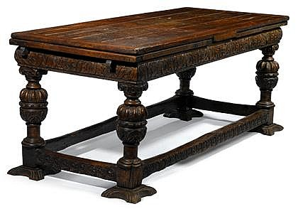 English oak draw-leaf refectory table, 16th/17th century and later, The rectangular top with two draw leaves, above a foliage and scrol