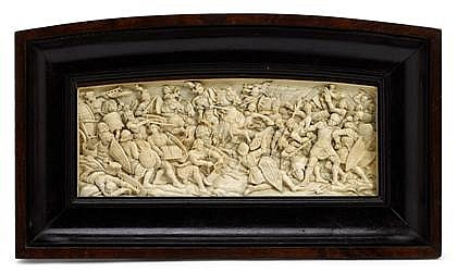 Fine Continental carved ivory plaque, 18th/19th century, probably south german, in the manner of antonio leoni, The single section intr