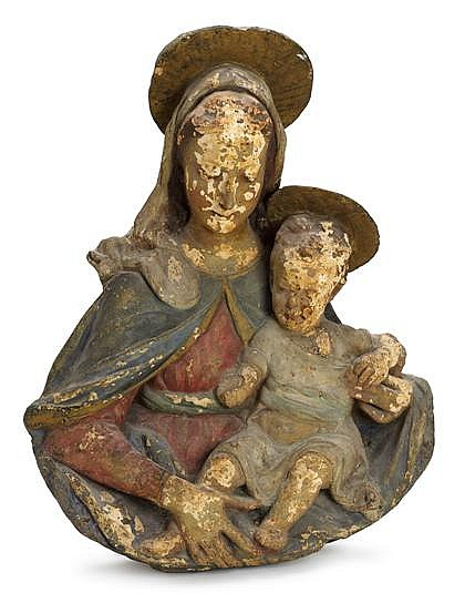 Circle of Antonio Rossellino (Italian, 1427-1479) A polychrome stucco relief of the Virgin and Child, 15th/16th century, Carved to show