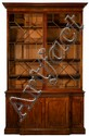 George III style mahogany breakfront bookcase, 19th century, In three sections, the dentil molded cornice above two astragal glazed cup