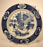 Chinese blue and white porcelain dish, chenghua mark, 18th century, Circular, painted to show figures in an interior setting, the rim p
