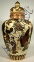 Large Japanese satsuma earthenware covered vase, , Tapering cylindrical form, decorated to show samurai, dragons and other figures, on