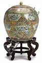Large Chinese export rose medallion porcelain covered jar, 19th century, Spherical form, decorated all over in the typical palette to s