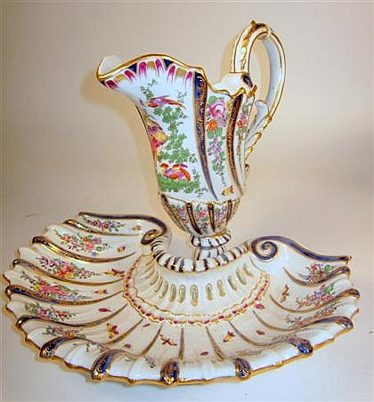 English painted porcelain pitcher and basin, late 19th century, possibly chelsea, The lobed pitcher painted to show floral swags, brigh