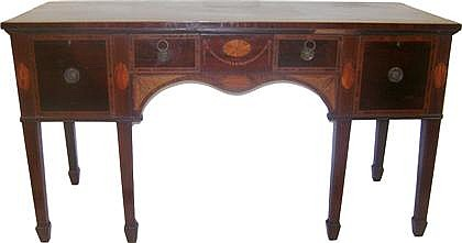 George III satinwood and fruitwood inlaid mahogany sideboard, , The rectangular top over central long drawer flanked by two drawers, th