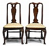 Pair of Queen Anne style mahogany side chairs, 19th century,