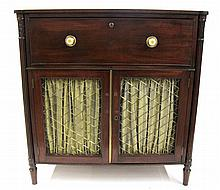 Regency mahogany and brass secretaire cabinet, 19th century,