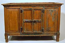 Spanish colonial blue and green painted pine cabinet, 19th century,
