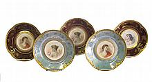 Eight portrait cabinet plates, late 19th/early 20th century, Seven in the Royal Vienna style; together with a Sevres style cabinet plat