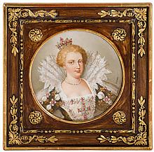 French hand-painted porcelain plaque depicting Marie de Medici, late 19th century, signed o. brun, retailed by bailey, banks & biddle,