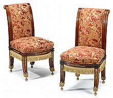 Pair of Empire mahogany and gilt bronze mounted side chairs, possibly american, late 19th century,
