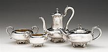 William IV four-piece silver tea and coffee service, robert hennell iii, london, 1831-34,