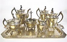 Victorian era Aesthetic silverplate seven-piece tea and coffee service, late 19th century,