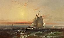 FRANKLIN DULLIN BRISCOE, (AMERICAN 1844-1903), SAILBOATS IN A SUNSET