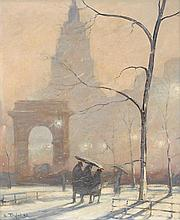 BELA DE TIREFORT, (AMERICAN 1894-1993), WASHINGTON SQUARE PARK IN WINTER