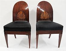 Pair of Austrian empire mahogany side chairs, 19th century,
