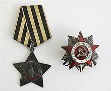 Two Russian medals, mid 20th century, Comprising an Order of the Patriotic War medal and an Order of Glory medal with original ribbon.