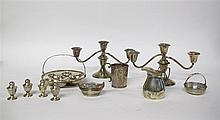 Collection of American sterling silver holloware, gorham, providence, ri, 20th century, Including a pair of three light candelabra with