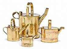 Collection of four Victorian brass watering cans, england, circa 1880,