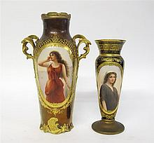 Two Royal Vienna style portrait vases,